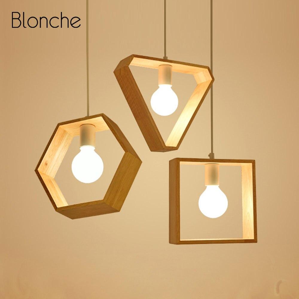 Lampe à suspension géométrique nordique Art lampe à suspendre en bois salle à manger café chambre décor lampes suspendues E27 douille Luminaire moderne