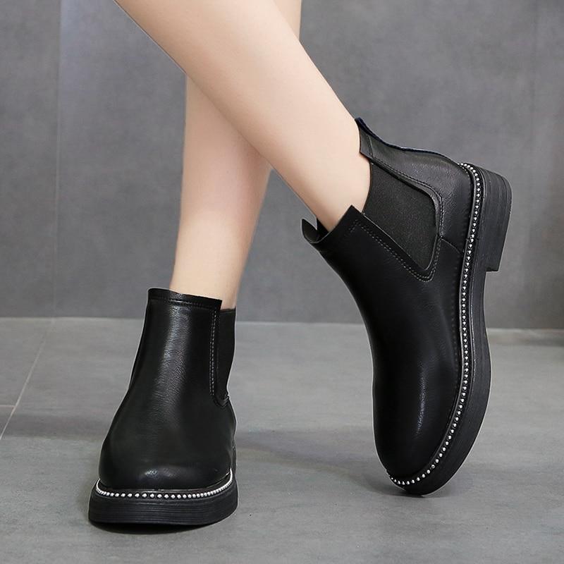 149446e47645 Moxxy Winter Shoes Women Chelsea Boots Rubber Boots Women Ankle Boots  Autumn Female Footwear Platform Boots Flats Shoes Woman