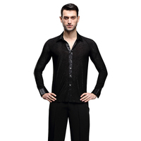 Hot Selling Male Latin Dance Clothes Black Color Long Sleeve Tops For Man Chacha Salsa Adult Men Ballroom Dancing Shirts