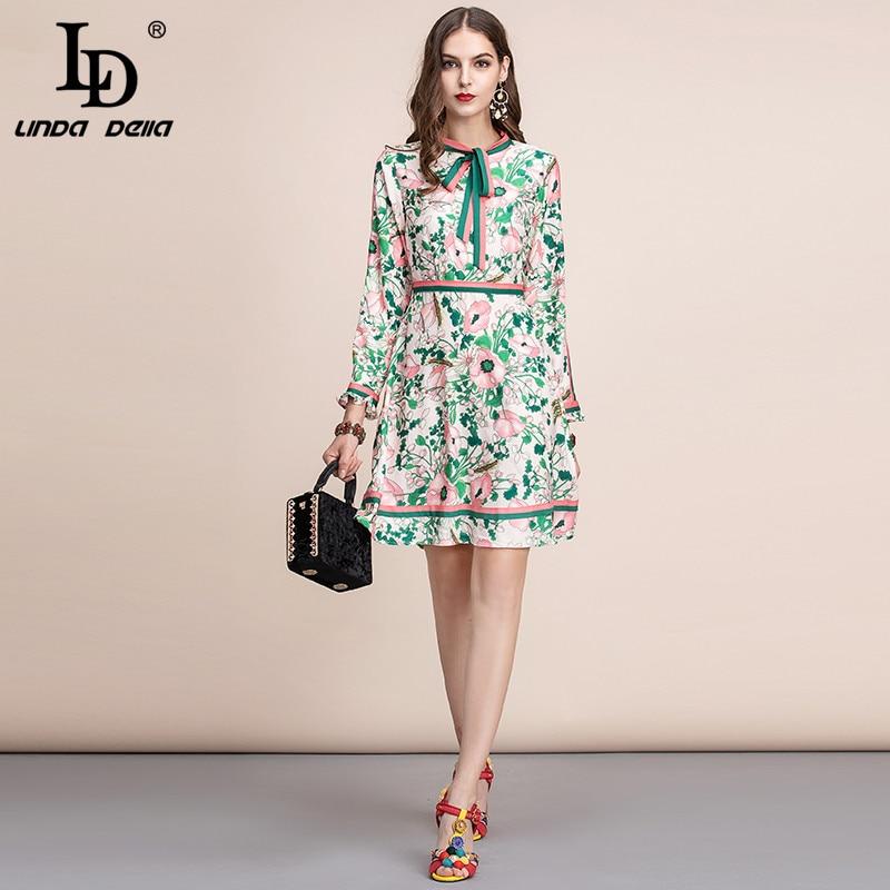 LD LINDA DELLA Autumn Fashion Runway Long Sleeve Dress Women's Belted Collar Multicolor Floral Print Vintage Elegant Dress 2019