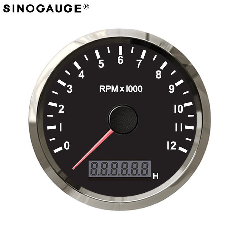 Universal Motorrad Digital LED LCD Tachometer Drehzahlmesser Retro Chrom f/ür alle Motorr/äder mit 12V Netzteil