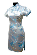 Vintage Light Pink Chinese Female Satin Cheongsam Sexy Mini Qipao Novelty Costume Oversize S M L XL XXL XXXL 4XL 5XL 6XL S025-F