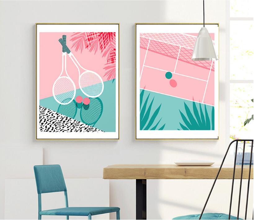 ALMUDENA No Frame Nordic Style Canvas Poster Pink Tennis Painting for Modern Home Decoration Living Room Wall Art Picture