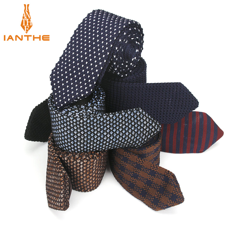 Brand New 6cm Fashion Slim Neck Tie Wedding Knitt Necktie For Men Skinny Knit Ties Man Gravata Polyester Narrow Knitted Neckties