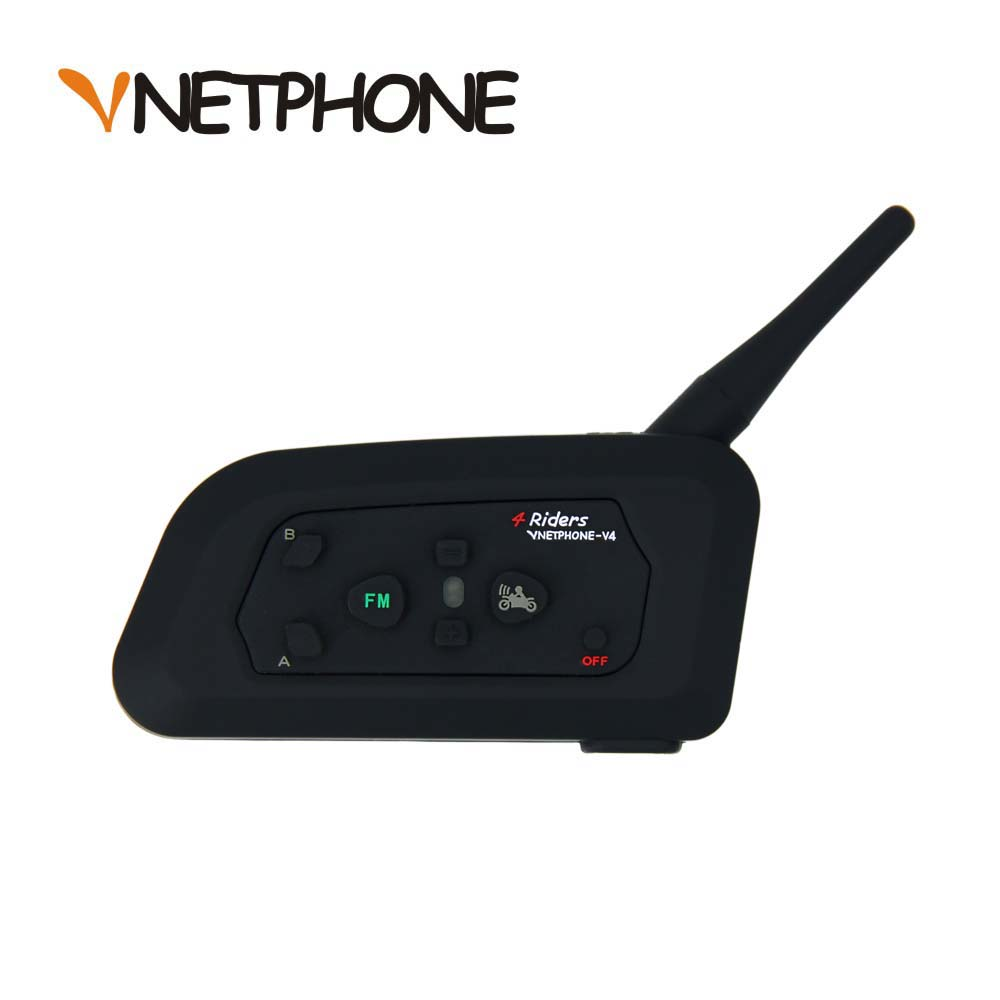 VNETPHONE 1200 m Bluetooth moto vélo Interphone 4 coureurs casque haut-parleur casque Interphone casque pour Football arbitre