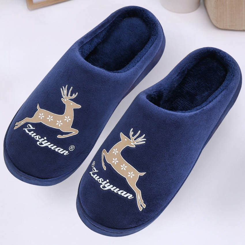 Family Matching Shoes Warm Thick Bottom Home Indoor Slippers Fawn Print Cotton Kids Spring Winter Mother House