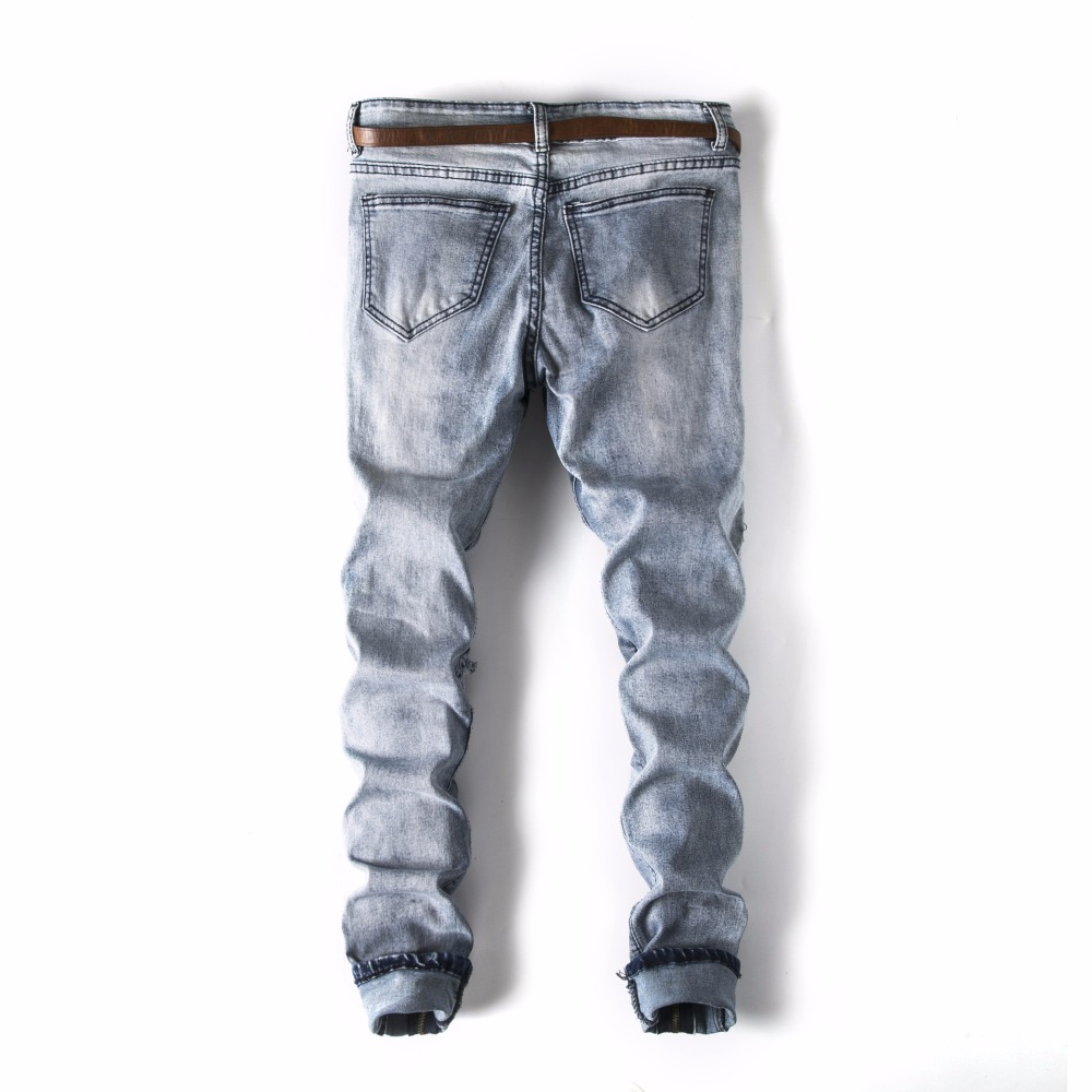 High Street Mens Fashion Classic Summer Holes With Zipper Pants Slim Fit Straight Ripped pencil jeans