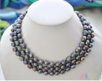 Hot Sale New Style 48 9mm Peacock Black Baroque Freshwater Necklace