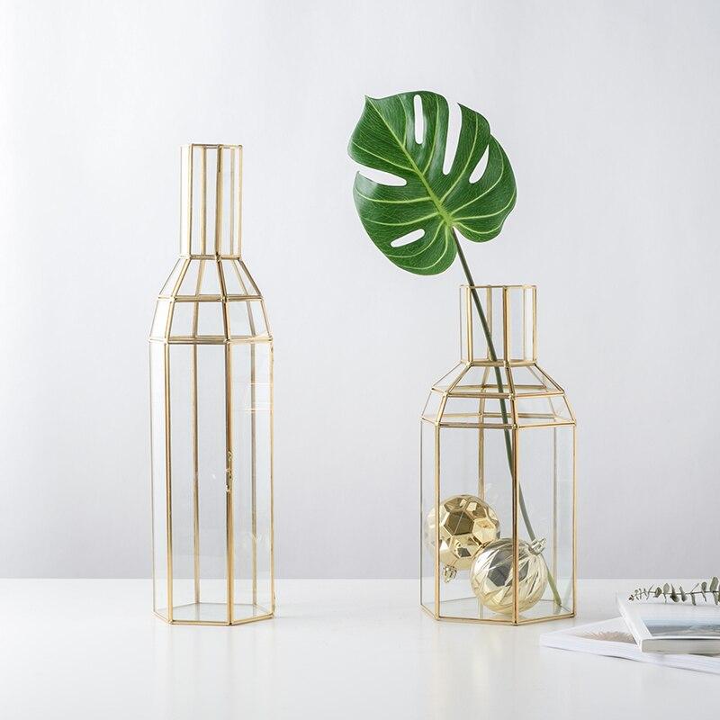 Handmade Copper Strip Glass Vase Flower Arrangement Desktop Candle Light Decoration Bottle Vintage Home Decoration