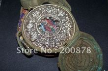 TGB081  Tibet brass Prayer box,big round GAU Buddha amulet,100mm,Tibetan lucky Eight Auspicioius (Babao)