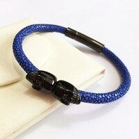 Northskull Stainless Steel Twin Skull Bracelets Bangles For Man Women Genuine Leather Stingray Bracelet Jewelry Gift