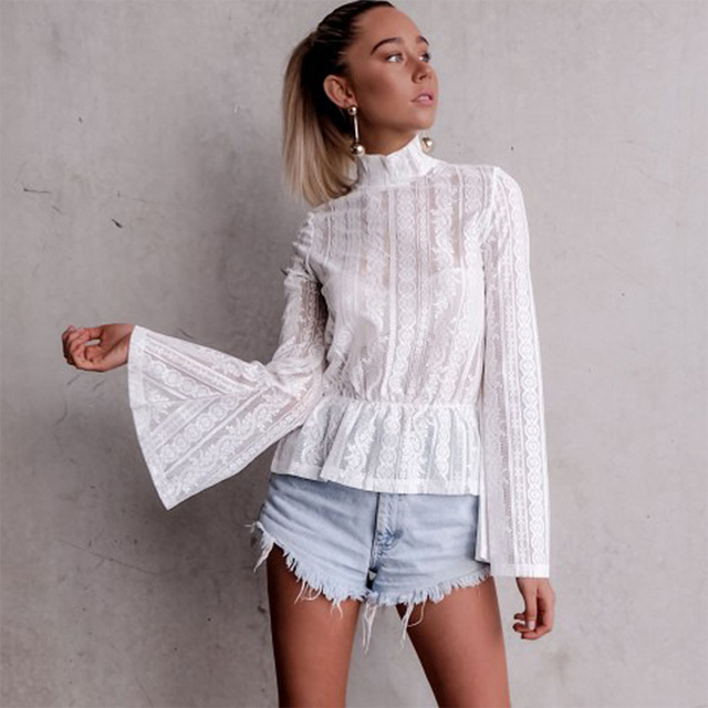 437a5a58ed Spring Autumn Women Sexy Top Long Flare Sleeve Lace Blouse Semi-sheer Slim  Floral Elegant