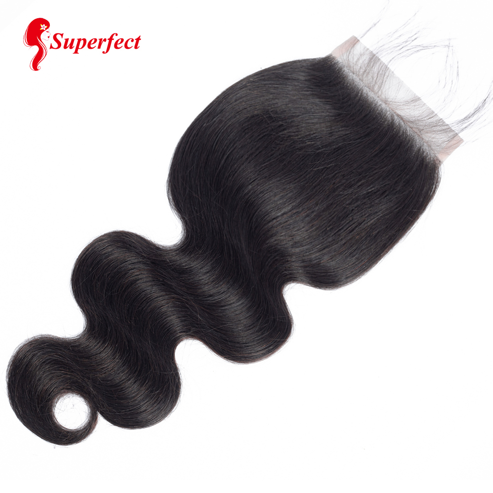 Superfect 5x5 Body Wave Lace Closure Human Hair Natural Color Brazilian Remy Hair Closure Bleached Knots With Baby Hair
