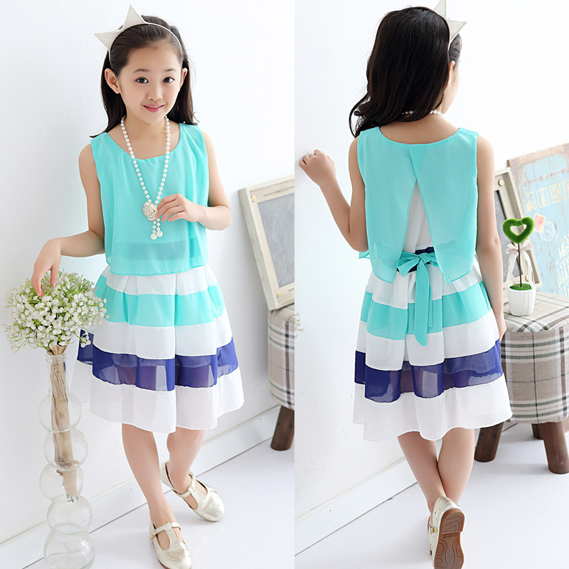a257856a748 2018 summer 4 15 years kids dress for girls striped chiffon princess dresses  children vestido menina teenage girls clothes 143D-in Dresses from Mother  ...