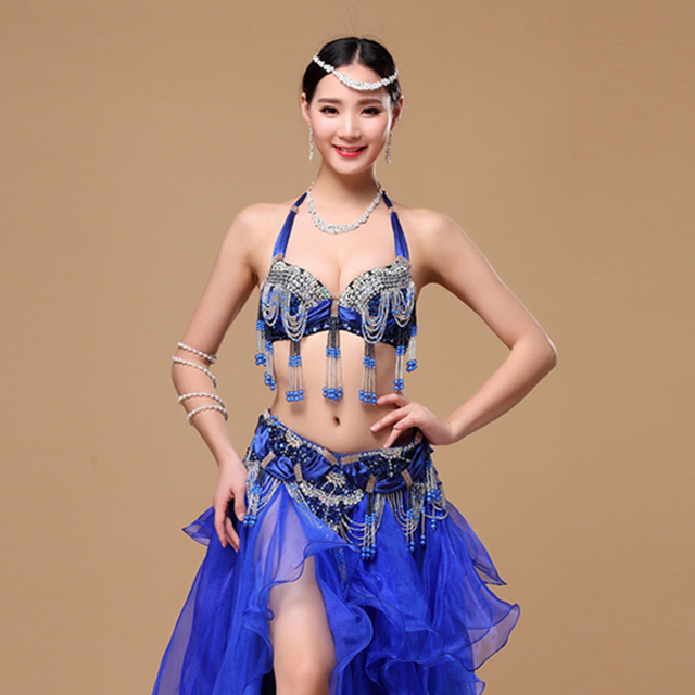 Size S-XL Performance 11 Colors Women Dancewear Professional 2pcs Outfit Oriental Beads Costume Belly Dance Bra Belt