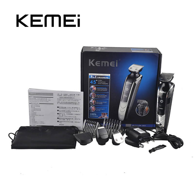 KEMEI KM-1832 5 in 1 Electric Hair Clipper Trimmer Titanium Blade Hairclipper Cutting Machine Shearer With Limit Combs 110 240v low noise rechargeable hair trimmer titanium blade 0 8 2 0mm adjustable hair clipper with 4 limit comb km 6688 s43