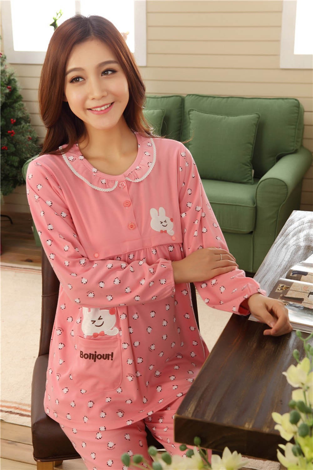 Pregnant-Woman-Pajamas-Postpartum-Breastfeeding-Month-Of-Serving-Lapel-Clothes-Long-sleeve-Sleepwear-Suits-CL0800 (13)