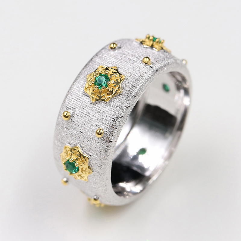 Image 2 - CMajor S925 Sterling Silver Jewelry Two Tone 5A Green Cubic Zircon Stone Star Rings For Women-in Engagement Rings from Jewelry & Accessories