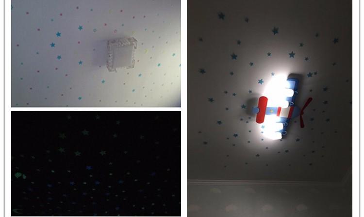 Darmowa Wysyłka Nowy Gorący 100 sztuk 3D Gwiazdy Świecą W Dark Luminous Jarzeniowe Plastikowe Naklejki Ścienne Living Home Decor Kids pokoje 7