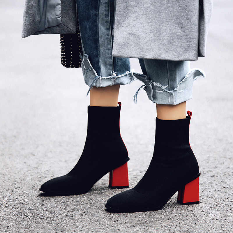 ff245c40971 Prova Perfetto 2018 New Style Women Stretch Boots Women Fashion Red Yellow  Woman Ankle Boots Warm Square Toe High Heels Boots