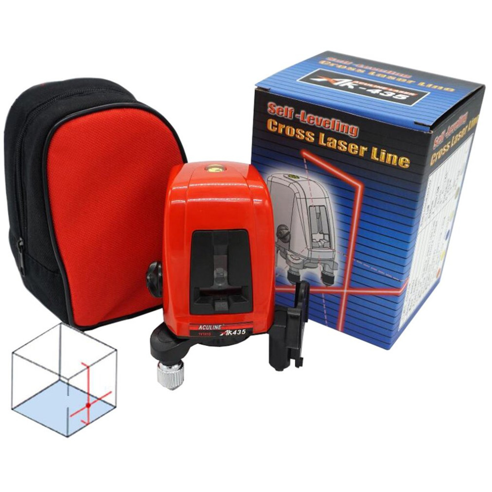 AK435 360 Degree Self-leveling Cross Laser Level 2 Red Lines 1 Point Compatible Rotary Horizontal Vertical Laser Levels Meter