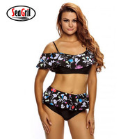 Bikinis Women 2017 Summer Female Swimwear Biquinis Abstract Geometry Print Ruffle 2 Pieces Bikini Sets Swimsuit