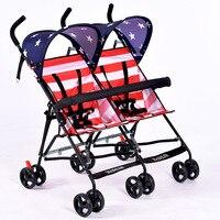Модные Новогодний подарок близнецов Младенцы Mutiple коляска складной путешествия двойной коляска два сиденья коляски зонтик коляска звезды