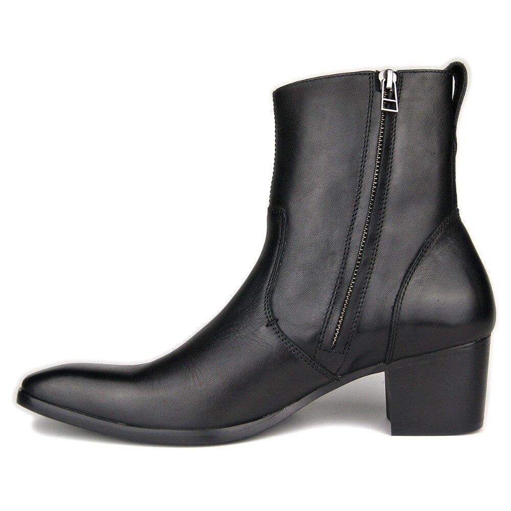 Prawdziwa skóra bydlęca fetysz czerwone dolne wysokie obcasy kwadratowych Toe męskie połowy łydki buty mężczyźni Party buty zwiększają wysokość 5 CM, ręcznie robione na  Grupa 2