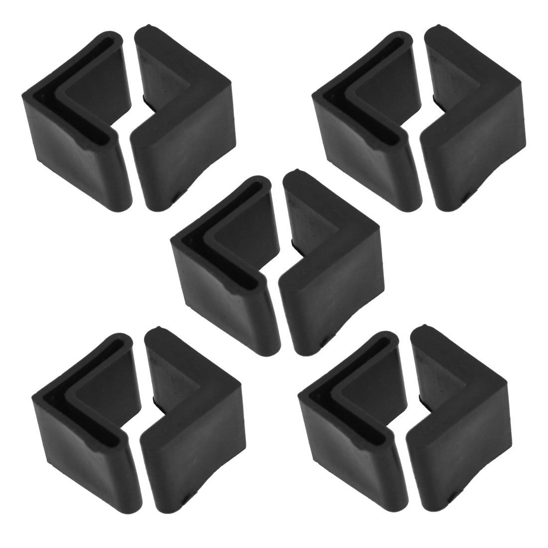 Rubber L Shaped Angle Iron Foot Pads Covers 10 Pcs Black