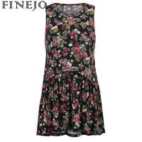 FINEJO Women's Dress Breastfeeding Sleeveless Floral Print Maternity tshirt Nursing Flared T Shirt Flower Top