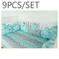 NEW 9pcs/set Baby Bedding Set 130*70cm cotton crib set bumpers pillow mattress back cushion children's bed cute cloud beds sets