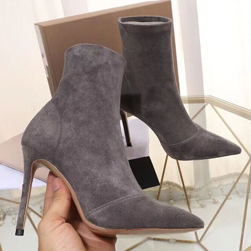 Luxury Design Suede Leather Women Ankle Boots Fashion Pointed Toe Stiletto High Heels Pumps Outfit Gladiator martin short boots elegant women s round toe pumps with stiletto and suede design