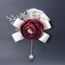 Wedding Supplies Brooch Flower Artificial Fabric Bride Bridegroom Wrist Corsage Party Prom Suit Pin  M18