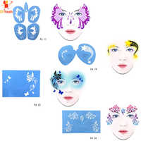 4 from 43 Soft Face Paint Stencil Reusable Template Tattoo Painting Makeup Tools Eye Body DIY Design Halloween Christmas Party