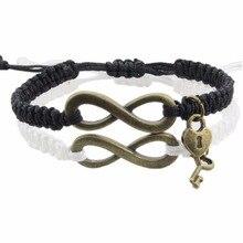 "2pcs/pair ""Endless Love"" Infinite love Adjustable bangle key and lock Pairing relationship bracelets couple Gift Lovers' Bangles"