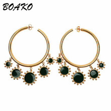 Fashion Women Big Circle Hoop Earrings Personality Thick Round Statement Earrings With Flower Pendant Party Wedding Jewelry Gift недорого