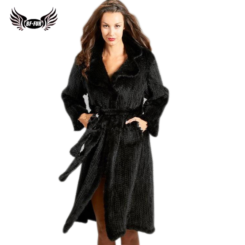 BFFUR Mink Knitted Women Mink Coats Luxury Brand Jacket Winter Women's Clothes 2018 Where Is My Mind Park With Natural Fur Black