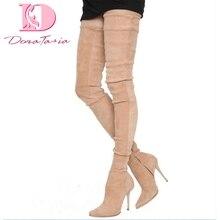 DoraTasia/ г. Роскошные Брендовые женские ботинки больших размеров 33-48 ботфорты на высоком тонком каблуке женские вечерние туфли