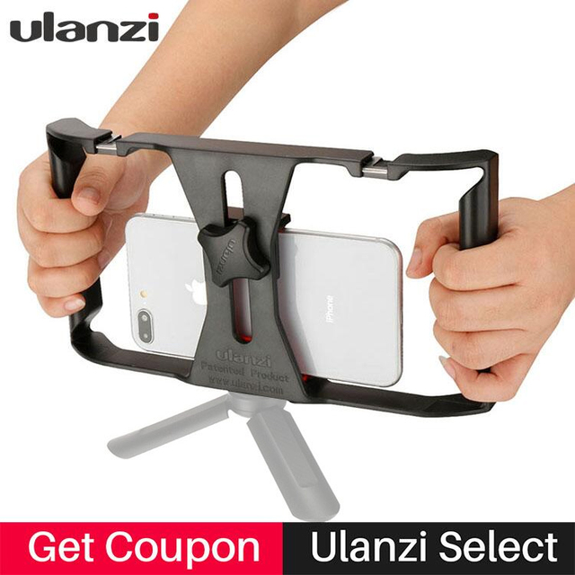 Ulanzi Handheld Smartphone Video Rig With 2 Hot Shoe Mounts Vlogging Rig Stabilizer for iPhone Instagram Video Microphone LED 1