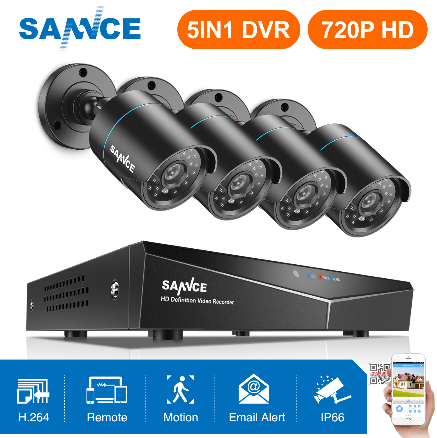 SANNCE 8CH 1080N DVR Sistema de CFTV 720P 4pcs 720P 1MP IP66 Video Surveillance Segurança Câmeras IR ao ar livre kit motion detection
