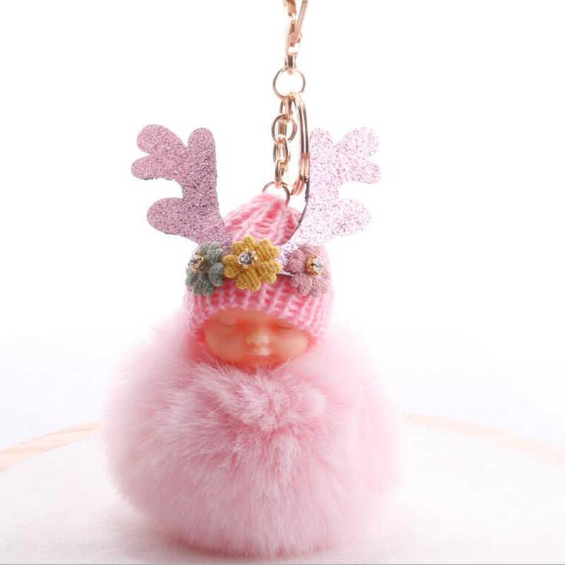 1 Pcs Adorável Fluffy Sono Do Bebê Chaveiro Faux Pele De Coelho Pompom bola Chaveiro Pingente Charme Bag Car Chaveiro Para As Mulheres jóias