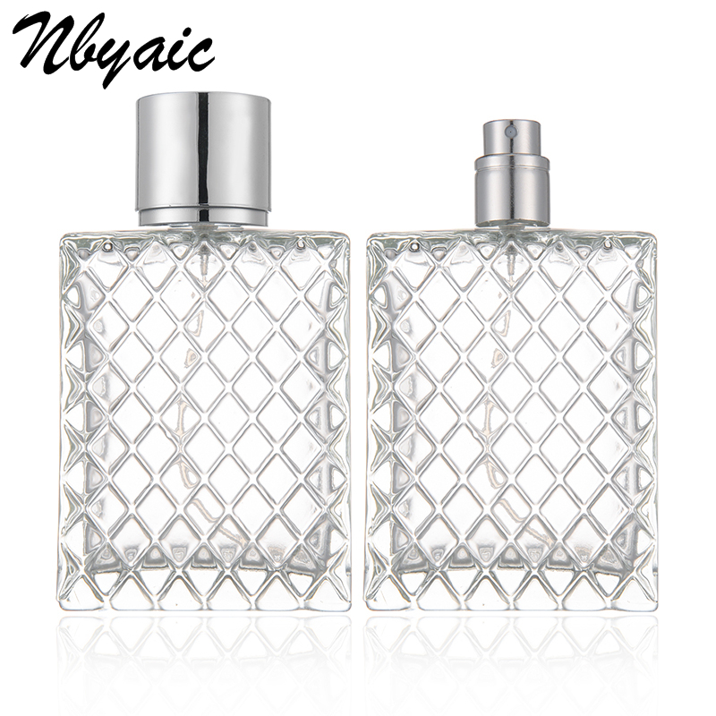 100ml Square Non-slip Flat Bottle Plaid Shape Glass Bottle Spray Bottle Perfume Bottle Simple Fashion