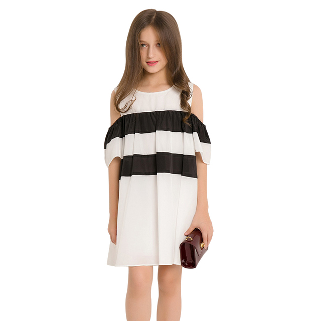 9ab38a70cfc 6 to 14 Years Teen Girls Off Shoulder Dress 2018 New Arrival Short Sleeve  Summer Dress Cold Shoulder Brand Clothing for Teenager