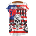 2015 New Brand Women's Cotton Short Sleeve T-shirt Fashion Casual Motorcycle skulls Print T Shirt Plus Size Top Quality