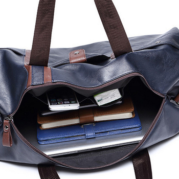 Sports Bag Men for Gym Yoga Soft Pu Leather Black Brown Cylindrical Sport Fitness Bag Male Shoulder Travel Luggage Bag XA594WD 3
