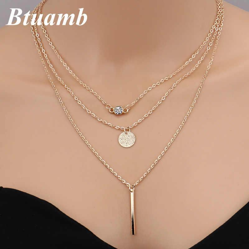 Btuamb Новое поступление круглые ожерелья в полоску с кристаллами стиле панк