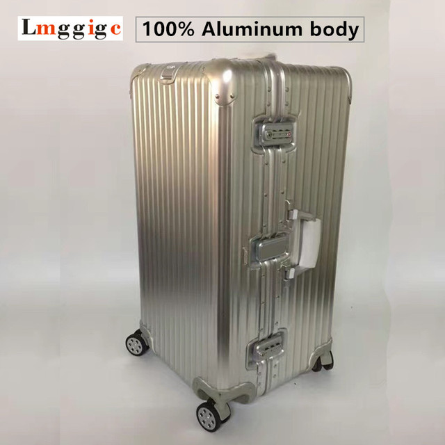 "30"" Upgrade 100% Full Aluminum body Luggage with Logo,Silvery Matte Suitcases,High capacity Carrier,Roller Travel Carry-Ons"