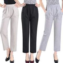 Summer Autumn Women Straight Pants Elastic Waist Plus Size Trousers Casual Solid Color Ankle Length Pants 2019 summer autumn women pants elastic waist solid color pants casual straight high waist pants trousers plus size xl 5xl