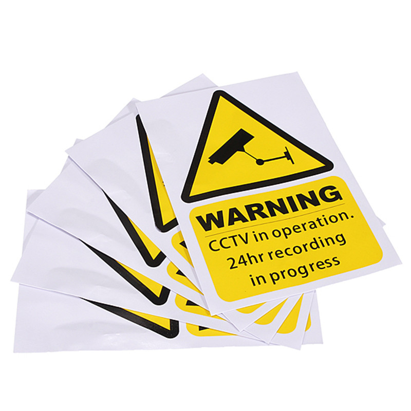 5pcs A Lot New Arrival High-end Yellow Window Warning Stickers Signs Decal CCTV In Operation 100mm x 150mm