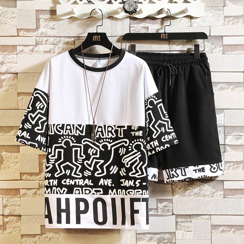 Men Summer Sets T-shirt+Shorts 2 Pieces Casual Sets High Quality Men Cotton Sportswear Tracksuit New Men Hip Hop Loose Sets
